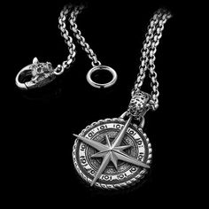 Long before proper maps, compasses, or GPS, any madman insane enough to set sail into the vast unknown would rely on the North Star to guide them on their e. Black Panther Necklace, Cool Necklaces, Men Necklace, Compass, Sterling Silver Jewelry, Pendants, Stars, Set Sail, Swallows Return