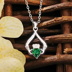 Emerald Claddagh Necklace at Creative Irish Gifts.