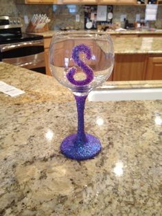 Glittered wine glass!