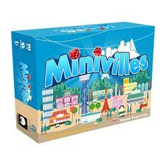 """Minivilles : un jeu d'apéro+, au matériel coloré, vite expliqué, vite joué et très plaisant. Encore mieux avec l'extension """"Marina"""" !"""