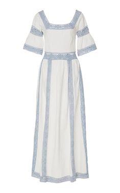 Lace Trimmed Maxi Dress by Luisa Beccaria | Moda Operandi