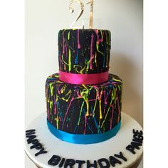 Popular Bright colours on Black fondant cake! For any age and can be unisex! Splatter cake