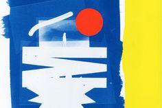 Cyanotype made at Tipografia Reali, Milan — I add a big orange dot and place it on a yellow background. #cyan