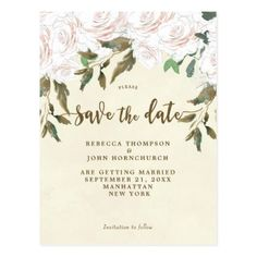 ivory floral wedding save the date postcard - floral style flower flowers stylish diy personalize