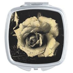Sepia Rose Compact Mirror - photography gifts diy custom unique special