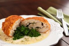 The first cut into the Chicken Kiev releases a flavorful stream of hot butter which makes the chicken incredibly tender.