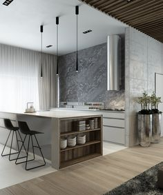 awesome Idée relooking cuisine - Add an effortless touch of class to your home with this modern interior design. Modern Kitchen Design, Interior Design Kitchen, Modern Interior Design, Interior Architecture, Luxury Interior, Minimal Kitchen, Minimalist Interior, Minimalist Living, Minimalist Bedroom