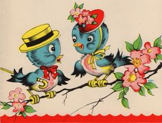 Vintage card with a bluebird pair from vintage grey.