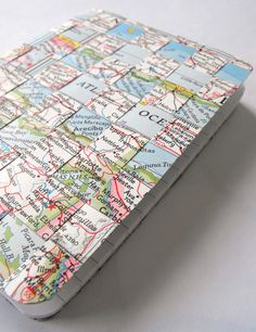 DIY Craft- Vintage Maps Woven Notebook Tutorial by Ruby Murray- Perfect for a Spring roadtrip. #DIY #crafts