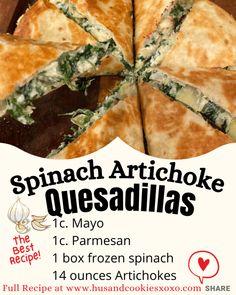 Spinach Artichoke Quesadillas Quesadilla, Artichoke, Spinach, Food And Drink, Artichokes, Quesadillas, Artichoke Dip