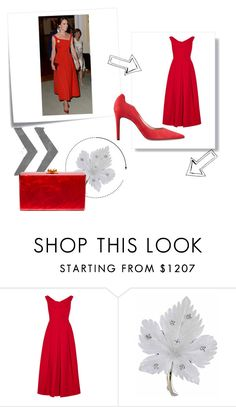 """""""Kate Middleton Red Dress"""" by kiedisme on Polyvore featuring мода, Post-It, Preen и Edie Parker"""