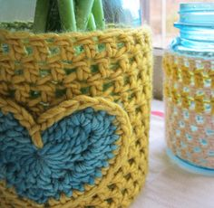 Crochet Jar Cozy Heart - Tutorial  ❥ 4U // hf