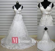 Discount White Ivory A Line Plus Size Sweetheart Lace Long Wedding Bridal Dress | eBay