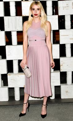 Emma Roberts wears lilac for a museum event.