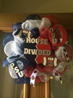 "House divided Penn State vs. Ohio State 12"" wreath"