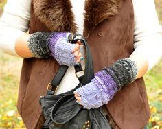 Lilac knitted fingerless warmers gloves Women Mittens Thumb Hole Gloves by MyBlueButterfly
