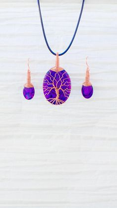 Tree of Life copper wire wrapped Purple by RecycledBeautifully