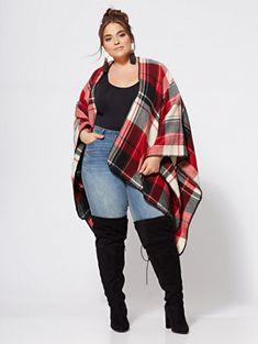 Winona Plaid Ruana - Fashion To Figure Fat Fashion, Curvy Women Fashion, Fashion Wear, Plus Size Fashion, Fashion Outfits, Petite Fashion, Style Fashion, Curvy Girl Outfits, Plus Size Outfits