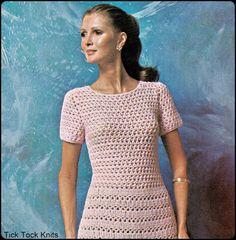 "No.227 PDF Vintage Crochet Pattern Women's Lacey Tea Dress - Instant Download - Retro Crochet Pattern - Bust Sizes 35"", 37.5"", 41"""