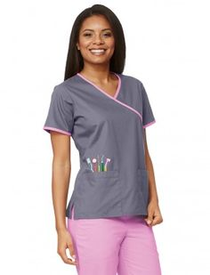 Mad About Mouths Dental Embroidery Cross Over Scrub Top Dental Hygienist, Dental Assistant, Dental Uniforms, Dental Scrubs, Uniform Advantage, Mouths, Scrub Tops, Caregiver, Designs To Draw