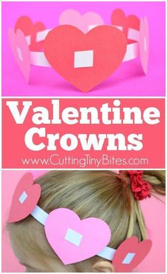 Valentine Crowns- Easy paper craft for kids. Simple hearts threaded on a headband make a fun play prop and fine motor activity for preschoolers or kindergartners! #artsandcrafts