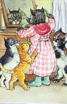 Mrs. Tibbet brushing fur, illustrator A. J. Macgregor // This was an absolute favourite..! :)
