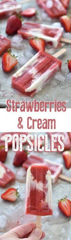 Strawberries and Cream Popsicles | NoBiggie.net