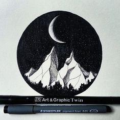 @aokije on Day 14 of #Inktober for a beautiful Moon Mountain. #kuretakeinktober #artandgraphictwin