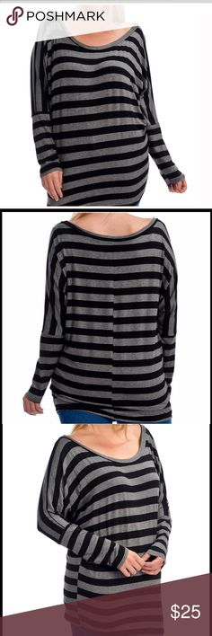 LISTING ️LUS SIZE TOP Wide collar long sleeve top with grey and black stripes. 95% RAYON 7%SPANDEX.  PLEASE USE SIZE CHART AS A REFERENCE IN LAST PICTURE. Bellino Clothing Tops Tees - Long Sleeve