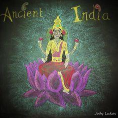 Brahma lotus blackboard chalk drawing Ancient India main lesson Waldorf Class 5 Steiner