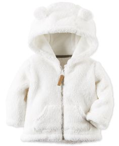 A snuggly finish for cool-day looks, this zip-up jacket by Carter's is crafted from fuzzy faux-sherpa and features an adorable ear-detail hood. | Faux fur: polyester | Machine washable | Imported | Ho