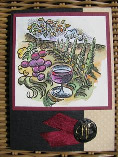 Grapes and Wine by Becky Joyce Hand Stamped Cards, Fall Cards, Watercolor Cards, Wine Country, Greeting Cards, Autumn Cards