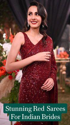 Red Saree, Saree Look, Bollywood Saree, Sari, Bridal Lehenga, Saree Wedding, Bridal Outfits, Bridal Dresses, Cotton Saree Designs