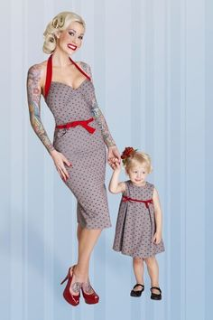 Adorable bettie page clothing mom daughter set I think I must get Mother Daughter Matching Outfits, Mother Daughter Fashion, Mommy And Me Outfits, Mom Daughter, Robes Rockabilly, Rockabilly Baby, Retro Kids, Bettie Page Clothing, Pin Up Style