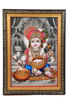 Laddu Gopal Decorated with Artificial Diamonds and Coloured Stones and framed luxuriously, A must have for home decor.....!
