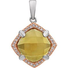 Sterling Silver Rose Gold Plated Citrine & Diamond Pendant