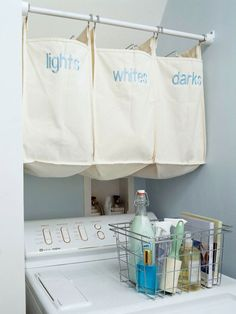 Hanging laudry baskets take up no floor space! More efficient ideas here: http://www.bhg.com/rooms/laundry-room/makeovers/laundry-room-decorating-ideas/?socsrc=bhgpin082114sortingbins&page=8
