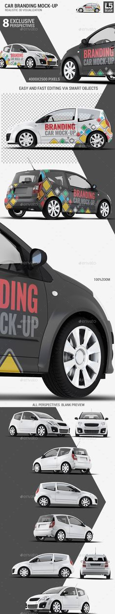 City Car Branding Mockup — Photoshop PSD #vehicule wrap #wrapping • Available here → https://graphicriver.net/item/city-car-branding-mockup/12053822?ref=pxcr