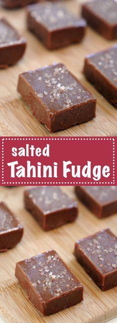 salted Tahini Fudge by MyHeartBeets.com