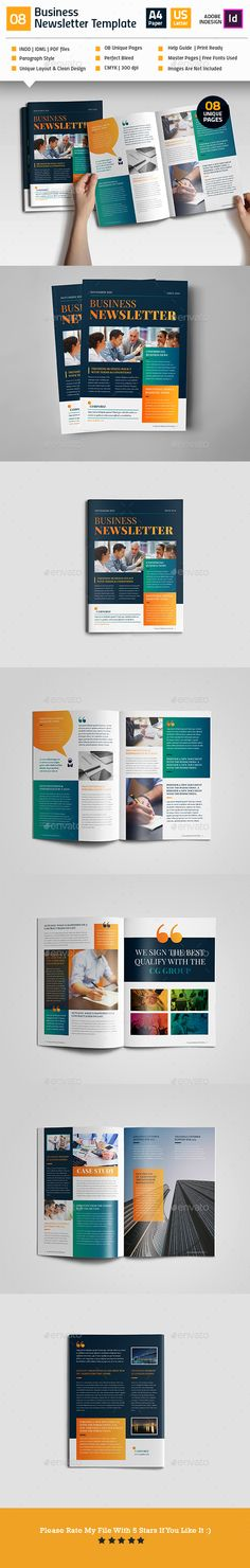 Clean Business Newsletter V08 - #Newsletters Print #Templates Download here: https://graphicriver.net/item/clean-business-newsletter-v08/19174814?ref=alena994