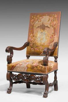 "Carved Walnut Framed Chair Ca 1880 Europe. 49""H x 26""W x 27""D."
