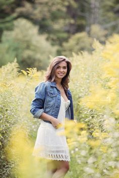 Vermont photographer Shannon Alexander Photography | senior portraits | field photo | yellow flowers | jean jacket | Miss Vermont teen USA | Canon | 135mm f2 L
