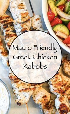 These Greek Chicken Kabobs are low in fat and carbs and I have a feeling these are going to be my favorite kabobs for the summer. I know they can seem a little overwhelming when looking at the ingredients but they're really easy to make. #greekchickenkabobs #memorialday #bbq #kabobs #macrofriendlyrecipes #healthyrecipes Macro Nutrition, Healthy Nutrition, Healthy Food, Healthy Eating, Clean Eating Recipes, Healthy Dinner Recipes, Keto Recipes, East Meals, Greek Chicken Kabobs
