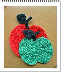 Posavasos manzana en crochet