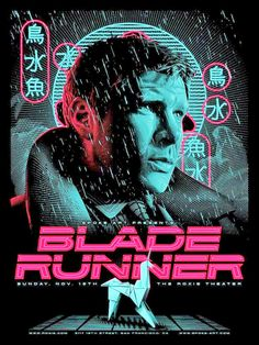Tracie Ching - silkscreen print designed for Spoke Art Gallery and the Roxie Theater's double-feature screening of Blade Runner and Brazil on Sunday, Nov. Blade Runner Art, Blade Runner Poster, Blade Runner 2049, Tv Movie, Sci Fi Movies, Indie Movies, Action Movies, Sketch Manga, Spoke Art