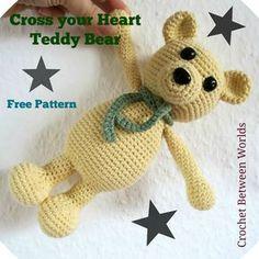 Crochet between worlds: FREE PATTERN: Cross Your Heart Teddy ༺✿ƬⱤღ http://www.pinterest.com/teretegui/✿༻