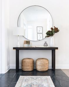 38 cozy black and white house interior design 4 Entryway Console Table, Entryway Decor, Console Tables, Dining Room With Mirror, Console Table With Mirror, Foyer, Hallway Table Decor, Console Table Styling, Hallway Mirror