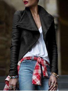 #RoseGal.com - #RoseGal Faux Leather Turndown Collar Jacket - AdoreWe.com