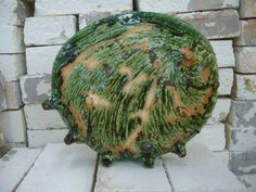 Awabi-zara, abalone-plate, oribe glaze