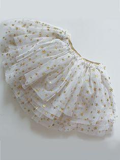 Glitz Stars tutu skirt for Girls Gold stars on white tulle